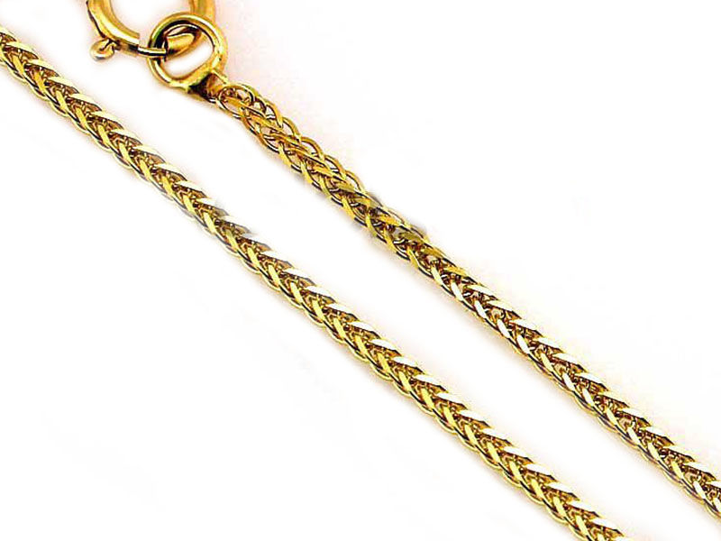 Złoty łańcuszek lisi ogon 585 białe złoto 55cm