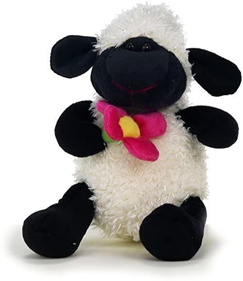 Sunny Toys 35738 pluszowa owieczka z kwiatem, około 22 cm