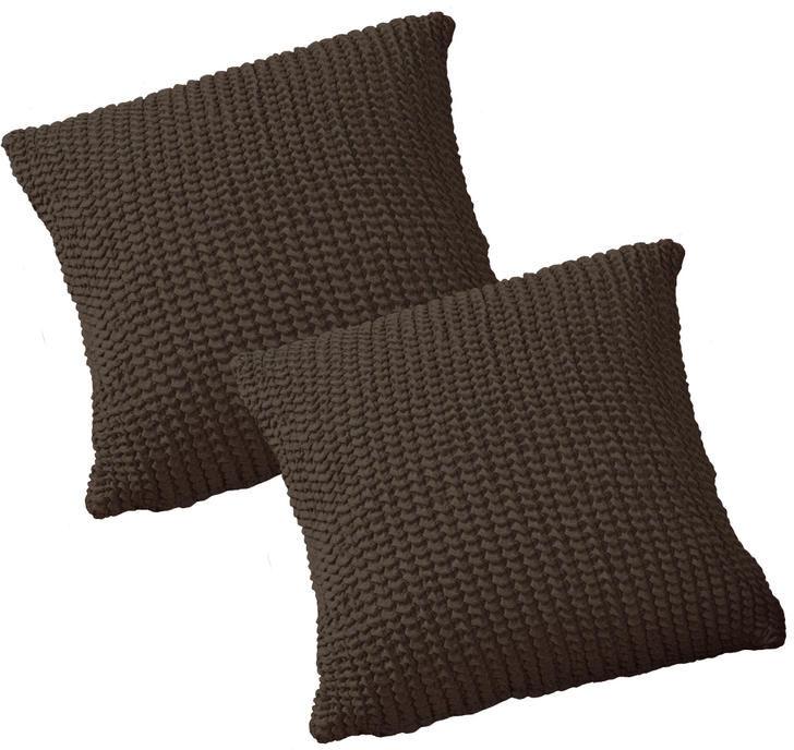 Super streczowe pokrowce GLAMOUR brąz poszewki na poduszkę 2 szt. (40 x 40 cm)