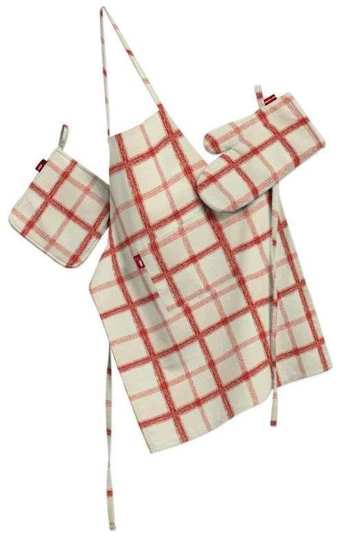 Komplet kuchenny fartuch,rękawica i łapacz, ecru tło, czerwona kratka, kpl, Avinon