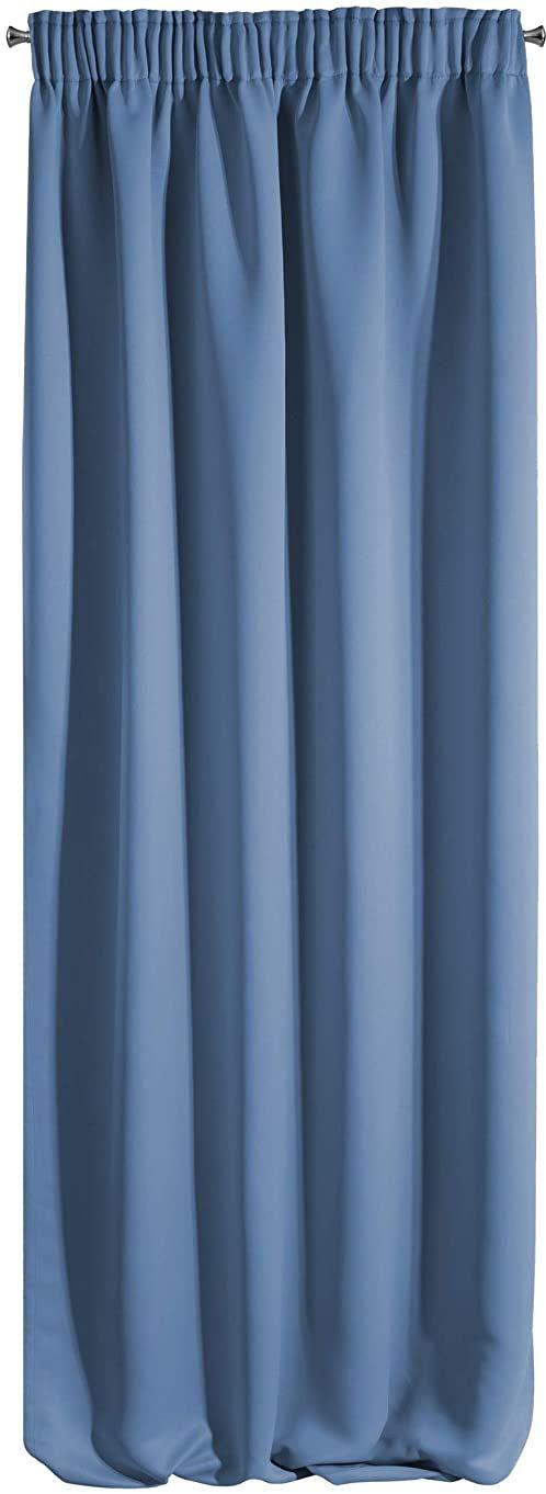 Design91 Gładka Blackout zaciemniająca taśma marszczona miękka firanki firanki nowoczesne proste sypialnie pokój dziecięcy pokój dzienny granatowy, 135 x 270 cm