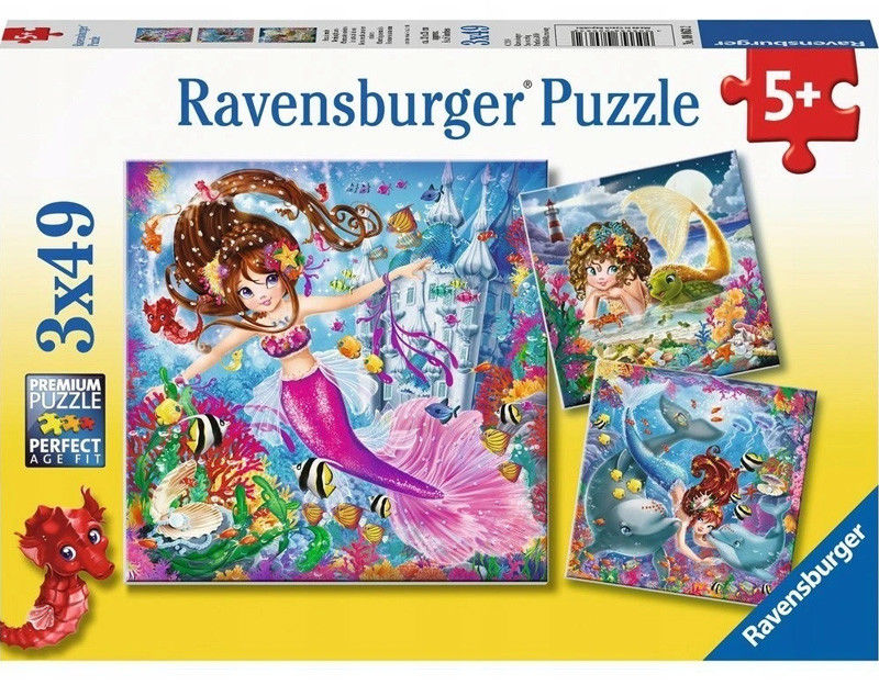 Ravensburger - Puzzle Urocze syrenki 3 x 49 elem. 080632