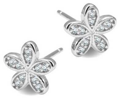 Srebrne kolczyki kwiatki - Cyrkonia