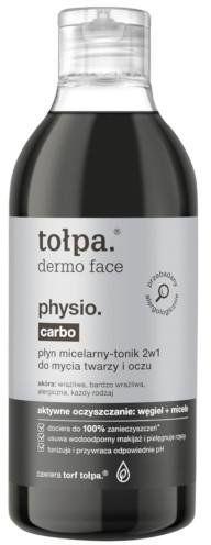 Tołpa Dermo Face Physio. Carbo płyn micelarny-tonik 2w1 do mycia twarzy i oczu 400 ml