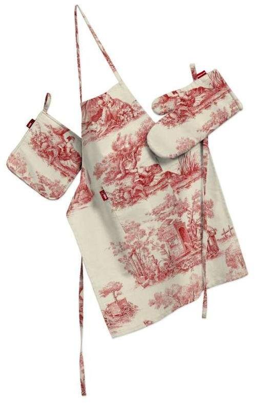 Komplet kuchenny fartuch,rękawica i łapacz, tło ecru, czerwone postacie, kpl, Avinon