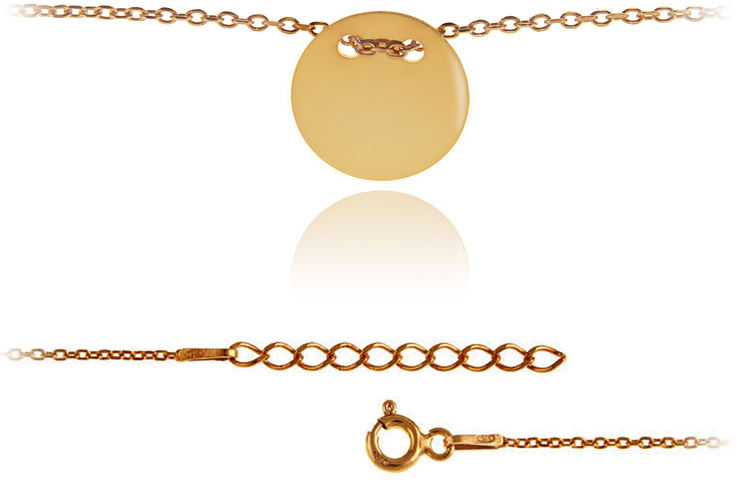 Elegancka pozłacana srebrna bransoletka na nogę celebrytka pełne kółko coin srebro 925 BN010