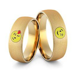Obrączki ślubne emotki emalia - Au-986