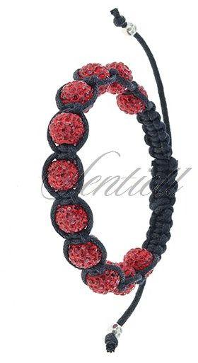 Bransoletka sznurkowa pr.925 Czerwona 11 kulek