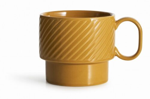filiżanka do herbaty, żółta, ceramika, 0,4 l, wys. 9 cm