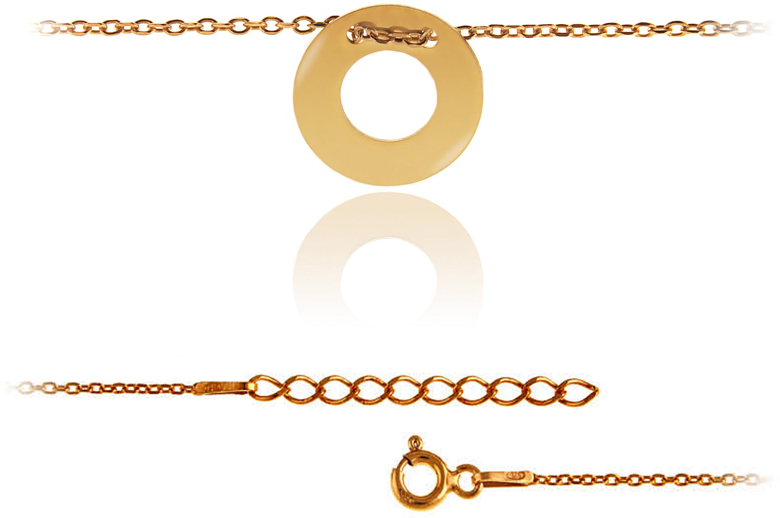 Elegancka pozłacana srebrna bransoletka na nogę celebrytka puste kółko ring srebro 925 BN011
