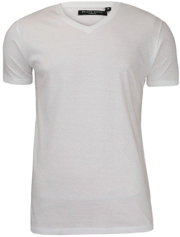 Biała Męska Koszulka (T-shirt) - Brave Soul - V-Neck TSBRSSS18SAINTBwhite