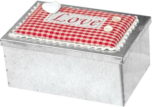 Home Love pojemnik prostokątny, tkanina, srebrny/beżowy, 18 x 12 cm