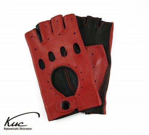 Rękawiczki bez palców, rowerowe, samochodowe - Marlenki - czarno-czerwone