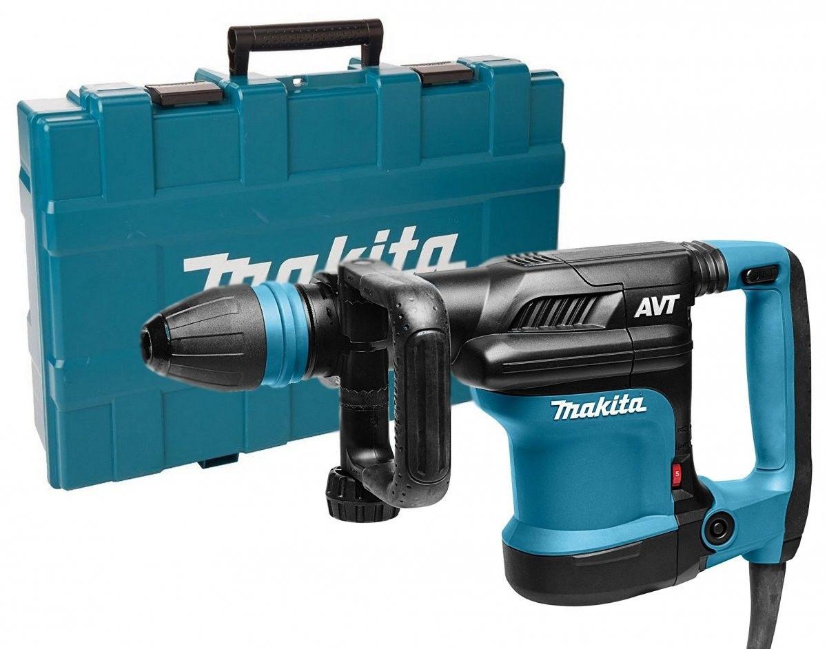 młot udarowy 1100W/8,1 J, mocowanie SDS-Max, Makita [HM0871C] + zestaw 4szt. dłut i szpicaków SDS-max [D-42466]