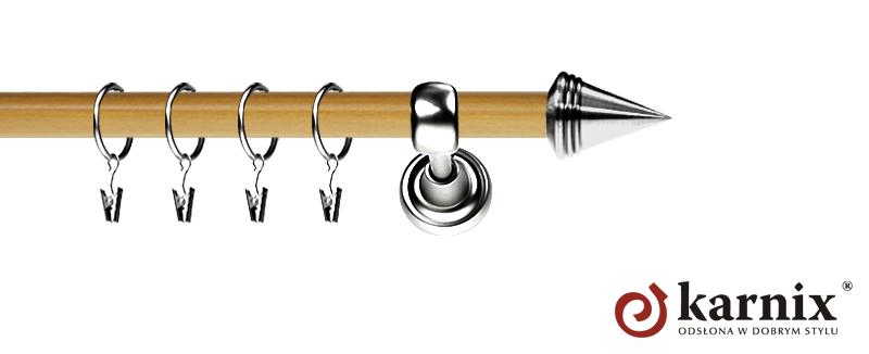 Karnisz Metalowy Prestige pojedynczy 19mm Stożek INOX - pinia