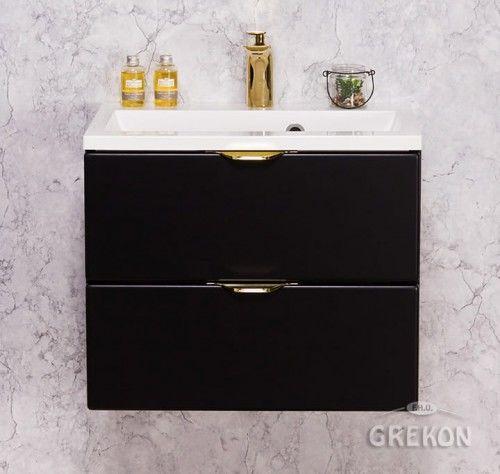 Szafka łazienkowa czarna 50cm z białą umywalką dolomitową, 2 Szuflady, Złote uchwyty, Styl Glamour, Gante VICTA