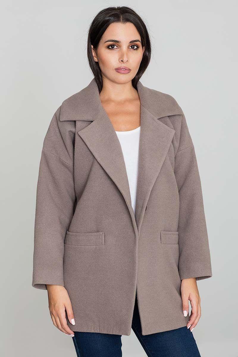 Mocca krótki stylowy płaszcz damski zapinany na jeden guzik