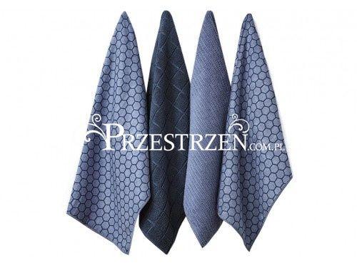 Ręczniki kuchenne z mikrofibry - Honeycomb Dusky Blue Ladelle - komplet 4 szt.