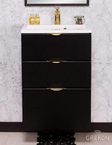 Szafka łazienkowa czarna 50cm z białą umywalką dolomitową, 3 Szuflady, Złote uchwyty, Styl Glamour, Gante VICTA