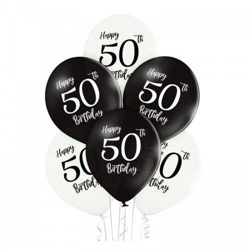Balony na 50 urodziny Happy Birthday, białe i czarne, 6 szt.