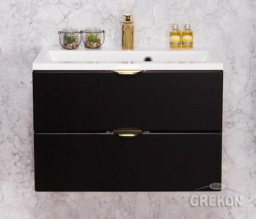 Szafka łazienkowa czarna 60cm z białą umywalką dolomitową, 2 Szuflady, Złote uchwyty, Styl Glamour, Gante VICTA