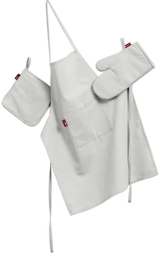 Komplet kuchenny fartuch,rękawica i łapacz, śmietankowa biel, kpl, Loneta