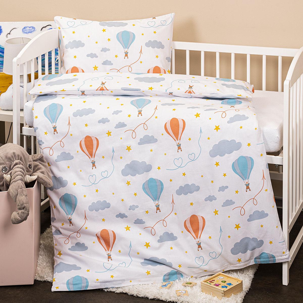 4Home Dziecięca pościel bawełniana do łóżeczka Chmurki, 100 x 135 cm, 40 x 60 cm