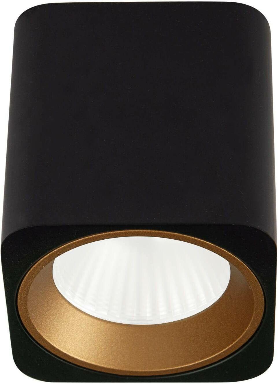 Oprawa natynkowa Tub C0212 kwadratowa czarna + pierścień ozdobny złoty RC0155/C0156 MaxLight