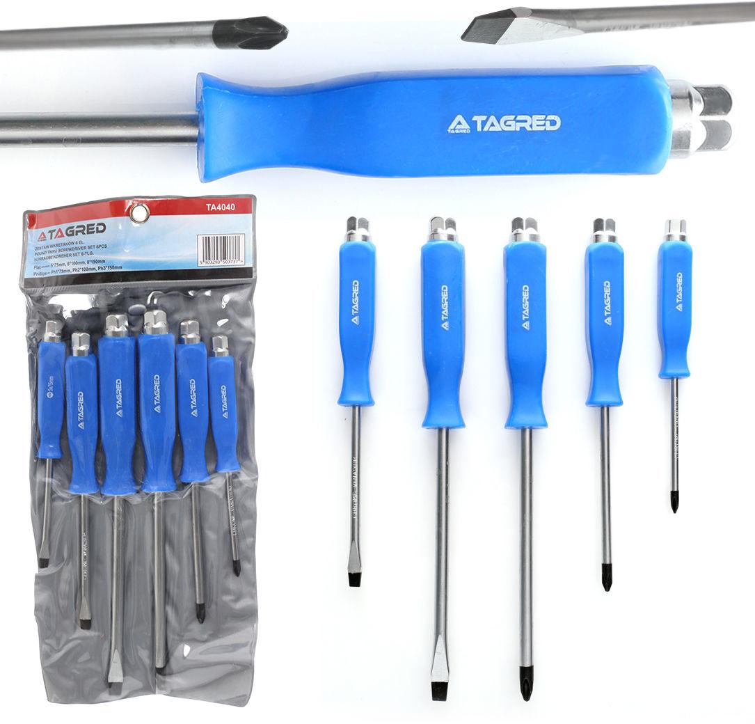 Śrubokręty ślusarskie, podbijaki, zestaw śrubokrętów - wkrętaków do podbijania, magnetyczne końcówki 6el.