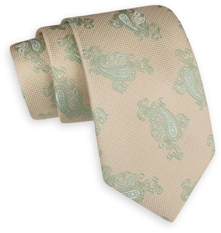 Beżowo-Zielony Szeroki Krawat -Angelo di Monti- 7,5 cm, Męski, Wzór Paisley, Łezki KRADM1656