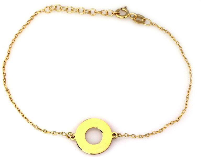 Srebrna bransoletka 925 pozłacana kółko ring 1,07 g