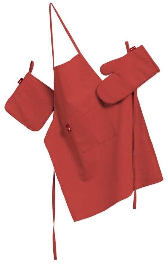Komplet kuchenny fartuch,rękawica i łapacz, czerwony, kpl, Loneta