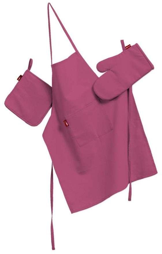 Komplet kuchenny fartuch,rękawica i łapacz, różowy, kpl, Loneta