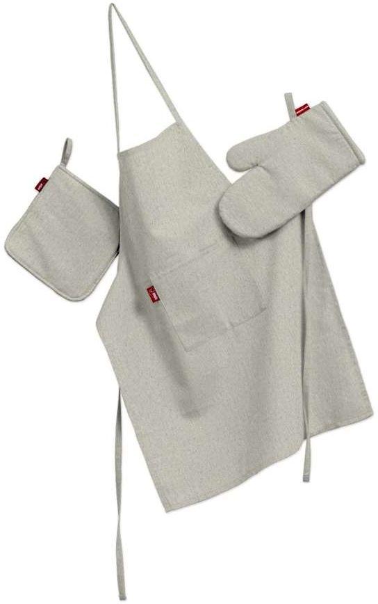 Komplet kuchenny fartuch,rękawica i łapacz, melanż szaro-beżowy, kpl, Loneta