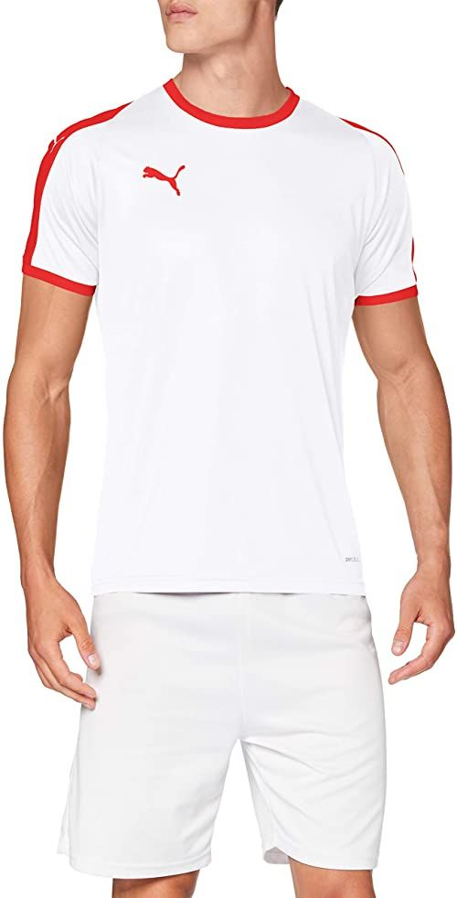 PUMA Męski T-shirt, zielony/biały (Pepper Green-Puma White), średni biały Puma White-puma Red L