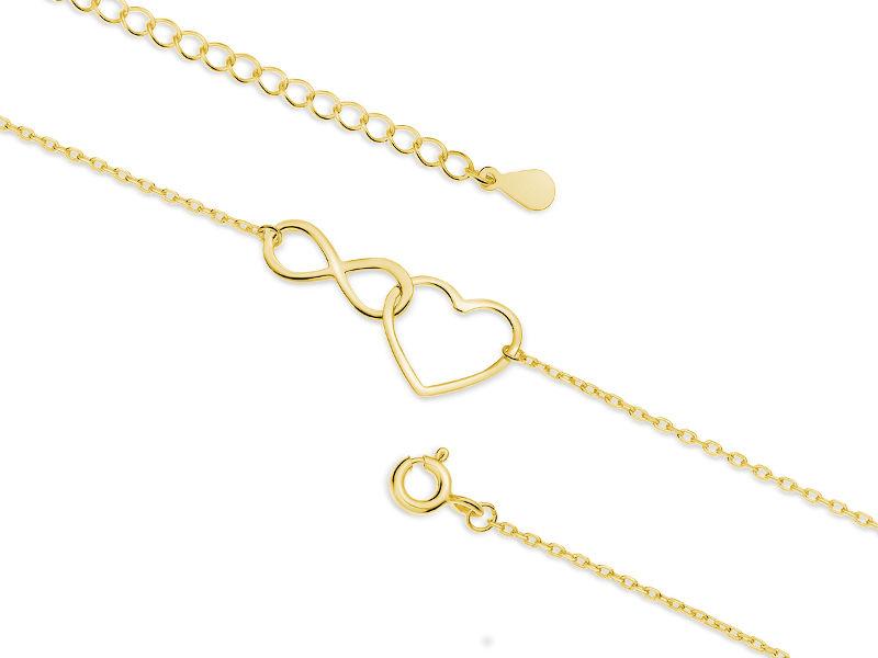 Delikatna pozłacana srebrna bransoletka na nogę serce nieskończoność infinity heart srebro 925 Z1793XG