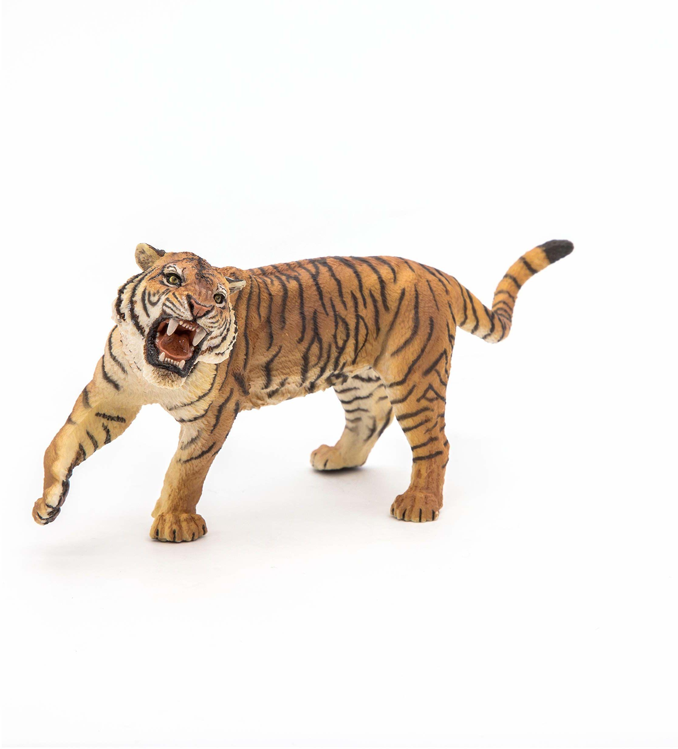 Papo 50182 ryczący tygrys dzikie zwierzęta figurka królestwa, wielokolorowa