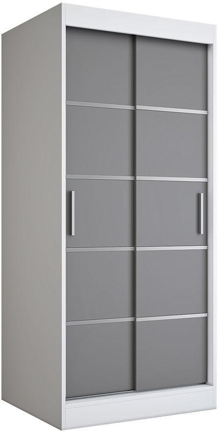 Przesuwna szafa w kolorze biały + antracyt - Livia 2X