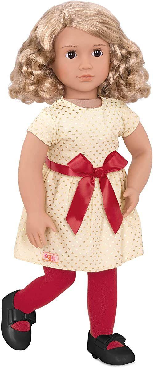 Our Generation BD31250C1Z 46 cm sukienka Noelle i kokardka - luksusowa zabawka na Boże Narodzenie lalka i akcesoria dla dzieci w wieku od 3 lat