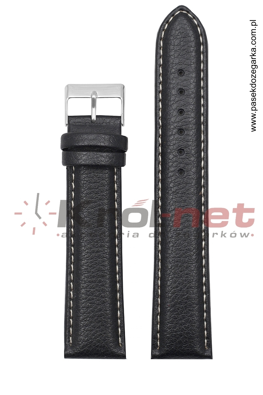 Pasek TK123/B/22 - czarny, białe nici