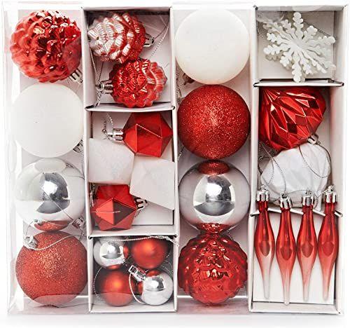 HEITMANN DECO Zestaw 29 bombek choinkowych  ozdoby bożonarodzeniowe w kolorze czerwonym, srebrnym, białym, do zawieszenia  ozdoby choinkowe z tworzywa sztucznego