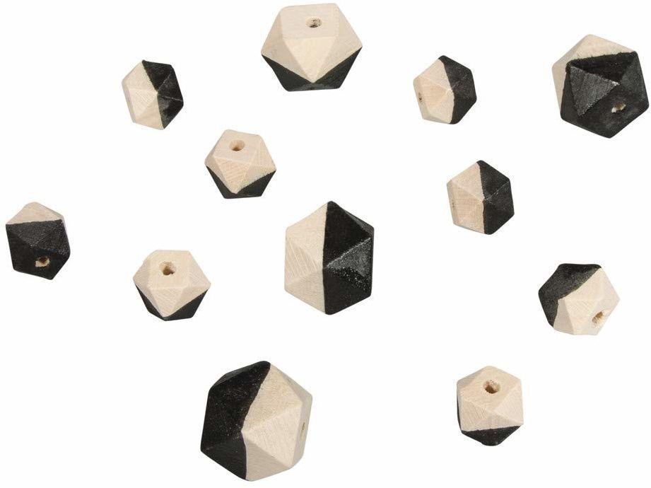 Rayher 12201576 drewniane koraliki diamentowe, 4 szt. ø2 cm, 8 szt. ø1,5 cm, SB-Btl 12S