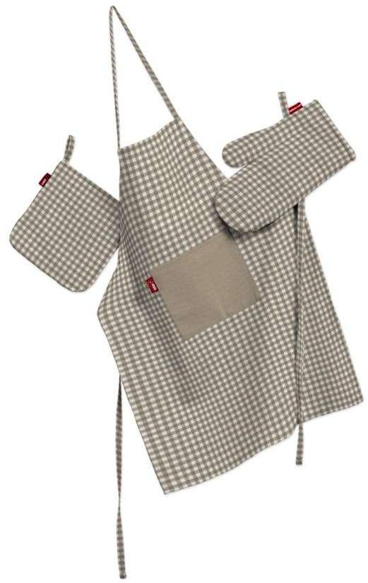 Komplet kuchenny fartuch,rękawica i łapacz, beżowo biała krateczka (0,5x0,5cm), kpl, Quadro
