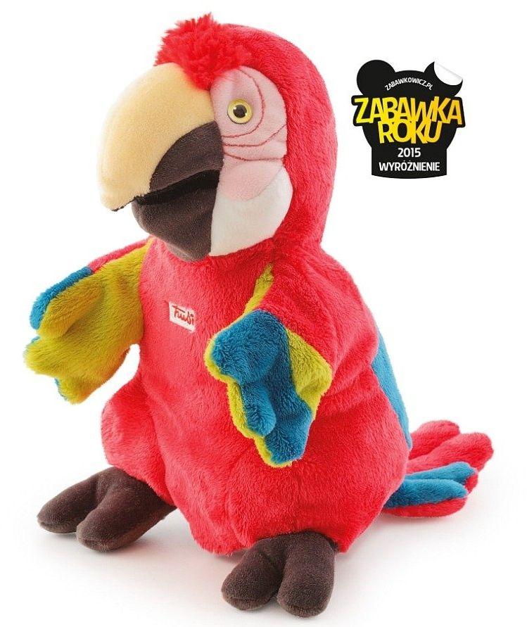 Pluszowa pacynka na rękę, przytulanka, Czerwona papuga, 29930-Trudi, zabawa w teatrzyk