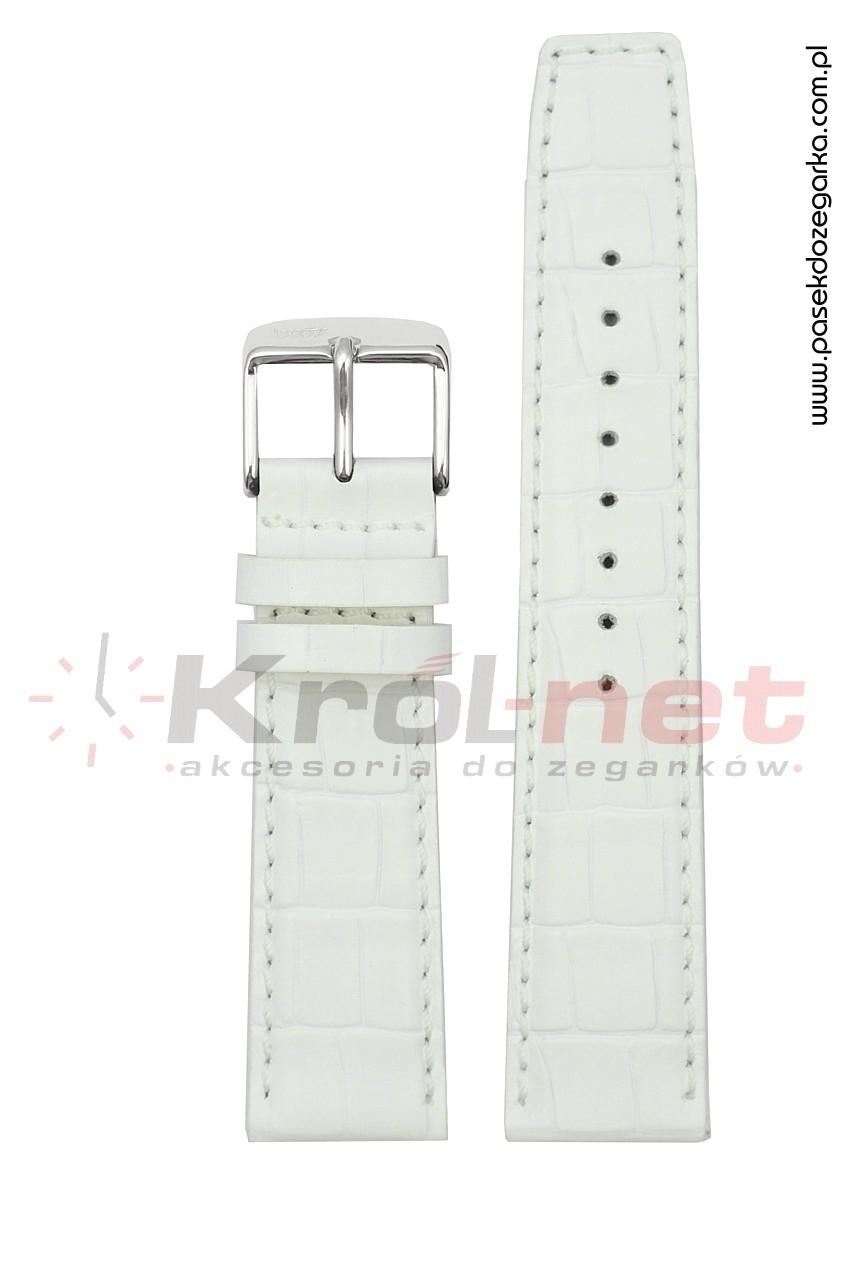 Pasek 8436/90/24 - biały, faktura krokodyla