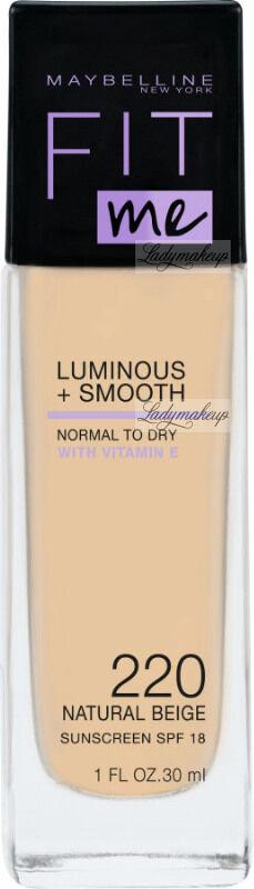 MYABELLINE - FIT ME - LUMINOUS + SMOOTH - Rozświetlający podkład do twarzy w płynie - SPF18 - 30 ml - 220 NATURAL BEIGE