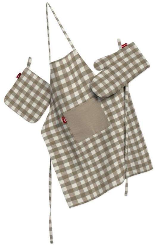 Komplet kuchenny fartuch,rękawica i łapacz, beżowo biała kratka (1,5x1,5cm), kpl, Quadro