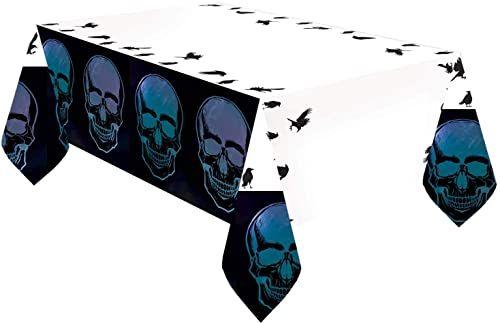 Amscan 9907409 - obrus Boneshine Fever, papier, rozmiar 1,2 x 1,8 m, dekoracja stołu, zastawa na imprezę, Halloween