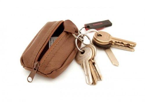 Klasyczne skórzane etui na klucze, kluczówka - Mini