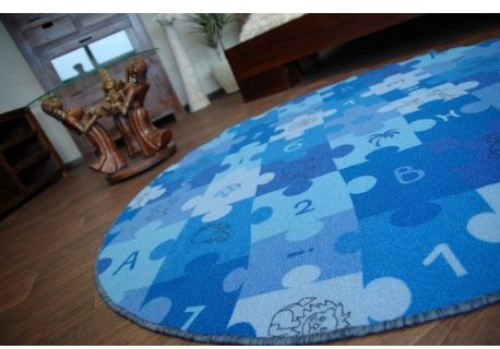 Dywan dziecięcy PUZZLE niebieski koło koło 100 cm